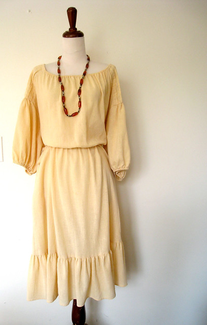 Pale Beige Ruffled Boho Dress, vintage 70's