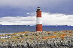 Tierra del Fuego: Les Eclaireurs Lighthouse in Beagle Channel, Ushuaia, Argentina (GingerP43) Tags: lighthouse mountains southamerica water argentina rain clouds tierradelfuego ushuaia island lighthouses day cloudy overcast beaglechannel canalbeagle leseclaireurs leseclaireurslighthouse
