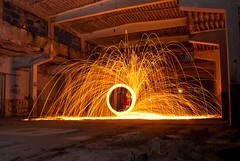 Sparkler (Genghis 72) Tags: light orange black wool night germany painting fire graffiti licht long place steel tag flash benjamin karlsruhe flamme 72 fer strobe abandonned laine gengis genghis acier cann