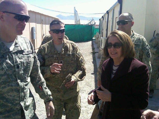 Leader Pelosi meeting with American soldiers at the US Embassy in Kabul