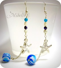 Sea stars (Miblli) Tags: blue white fish water silver star earrings