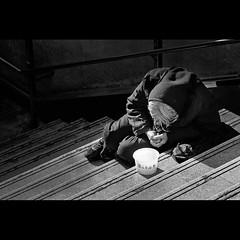 sa hagdan..(at the stairs) (j u n B a l l e n a) Tags: poverty china blackandwhite poor streetphotography shenzhen suffering pity guandong sigma70300 nikond40x