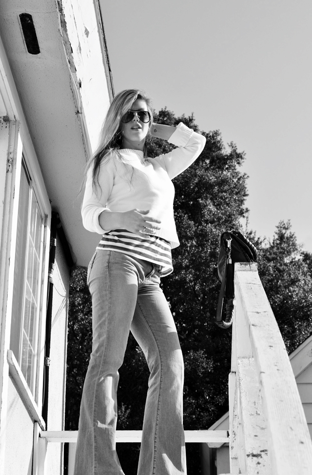 at the top of the stairs, messy tangled hair, super flared jeans, bell bottoms, light wash flares, joe's jeans, messy nautical, aviator sunglasses, DSC_0138