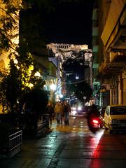 Kapnikarea (Toni Kaarttinen) Tags: car night illumination scooter athens parthenon greece nighttime grecia atenas acropolis griechenland grce athen grcia athnes ellda atene ateena kapnikarea  athna hells