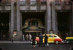 RCA Building Times Square, NYC  1953 (ElectroSpark) Tags: newyorkcity streetphotography kodachrome film vintage advertising taxi retro signs movie theatre theater