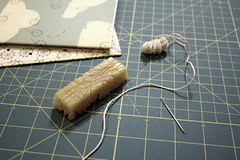 Measuring and Waxing the Thread (kate e. did) Tags: thread paper book glue journal books cotton etsy bookbinding binding beeswax handbound daveyboard cottonthread anybodyinthereetsycom