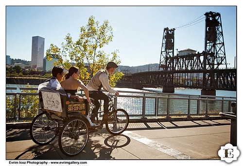 Portland Wedding Pedicab heading to the Steel Bridge