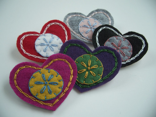 Folk Felt Heart Brooches