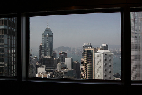 Looking out from the Bank of China tower