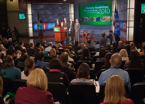 From left: Assistant Secretary for Health, Department of Health and Human Services Dr. Howard Koh, Agriculture Secretary Tom Vilsack, Director, Center for Nutrition Policy and Promotion Robert Post and Health and Human Services Secretary Kathleen Sebelius answer audience and reporters' questions after the announcement of the 2010 Dietary Guidelines for Americans in the George Washington University Jack Morton Auditorium, Monday, January 31 in Washington, DC. The new Dietary Guidelines for Americans focus on balancing calories with physical activity and encourage Americans to consume more healthy foods like vegetables, fruits, whole grains, fat-free and low-fat dairy products, seafood and to consume less sodium, saturated and trans fats, added sugars and refined grains.