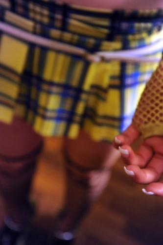 Fingernails, Dani's French manicure, plaid bright yellow and blue mini-skirt, white belt, glove, legs, Wedgwood, Seattle, Washington, USA by Wonderlane