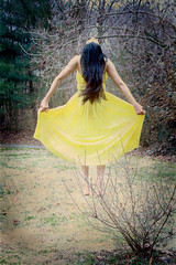 Day 138 Alternative (ammccorkle) Tags: portrait selfportrait texture canon 50mm knoxville creative longhair floating levitation 365 float anjelica yellowdress rebelxti