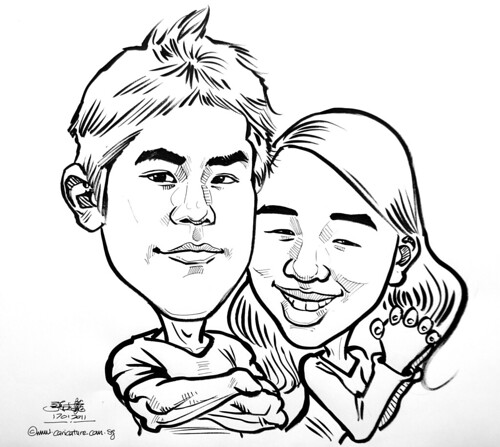 couple caricatures in pen and brush 18012011