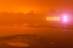 Infusion (Bury Lake Fog), Rickmansworth (flatworldsedge) Tags: longexposure light mars ice fog night mine alien foggy boathouse martian lightpollution rickmansworth aquadrome streelights sodim yahoo:yourpictures=pollution