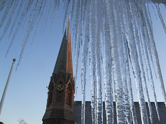 Spires (Adrian Cooke) Tags: winter ice church campus university dusk connecticut chapel spire flagpole middletown icicles wesleyan mattabesset