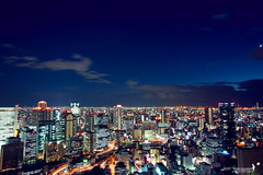 Osaka night scape (achew *Bokehmon*) Tags: light moon color japan night clouds buildings long exposure sony trails osaka alpha tone citycape a850