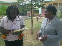 St. Angela School Principal (right) being interviewed