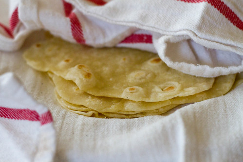 freshly made flour tortillas