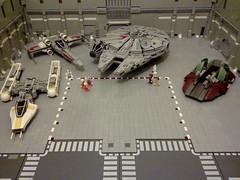 Rebel Base WIP (Babalas Shipyards) Tags: star lego hangar wip millennium falcon scifi xwing wars base awing