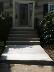 steps with concrete walkway
