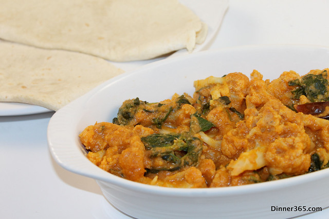 Day 39 - Cauliflower and Fenugreek leaves Korma with Tortilla