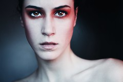 I'm closing the windows to stay warm. (Melania Brescia) Tags: red portrait girl face eyes melania brescia