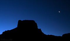 Dawn at Casa Grande (Darcy Richardson) Tags: road park usa moon night america dawn grande casa big interesting texas venus bend basin crescent national chisos