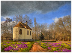 Chapel (Jean-Michel Priaux) Tags: flowers autumn france tree church nature field architecture forest photoshop landscape religion chapel alsace paysage glise chapelle hdr fort fret ried priaux touraroundtheworld mygearandme