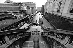 (nzbuu) Tags: street people urban paris france station stairs train blackwhite îledefrance gimp rail railwaystation garedelest iledefrance c2g canonefs1022mmf3545usm ufraw ledefrance canoneos450d