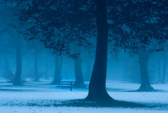 This Used To Be My Playground (Thorsten Scheuermann) Tags: blue trees winter mist snow playground fog germany twilight carousel weingarten