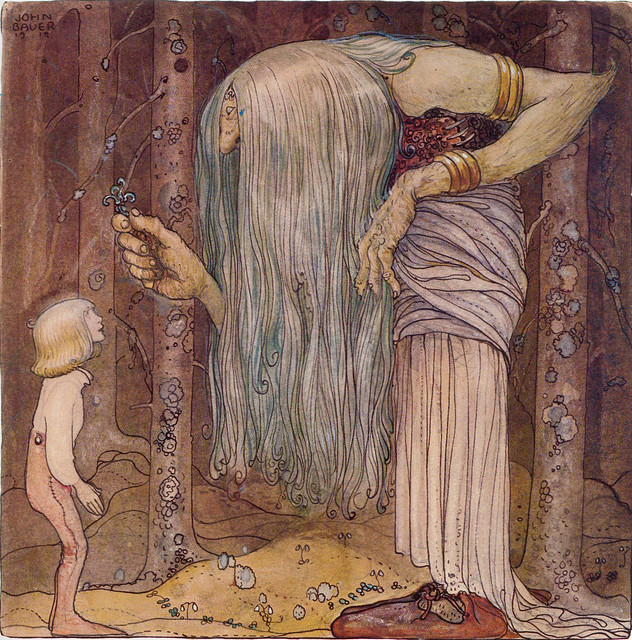 "John Bauer ""Here is a piece of a troll herb which nobody else but me can find"" 1912"