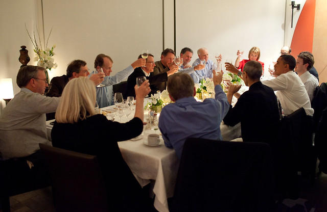 President Barack Obama joins a toast with Technology Business Leaders at a dinner in Woodside, California, Feb. 17, 2011. (Official White House Photo by Pete Souza)