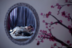 (jenniferavello) Tags: morning flowers sleeping portrait wall night puppy 50mm mirror bed curtains cherryblossums muralpainting boyanddog bostonterrior 2011 sleepingboy canon5dmarkii shootthroughamirror unknowningportrait