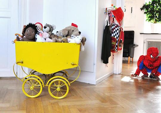 yellow vintage pram
