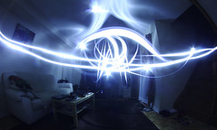 Aliens (Razvan F.) Tags: blue house canada night digital canon painting eos rebel lights long exposure mark room smooth aliens fisheye luminescence 65mm opteka 550d t2i