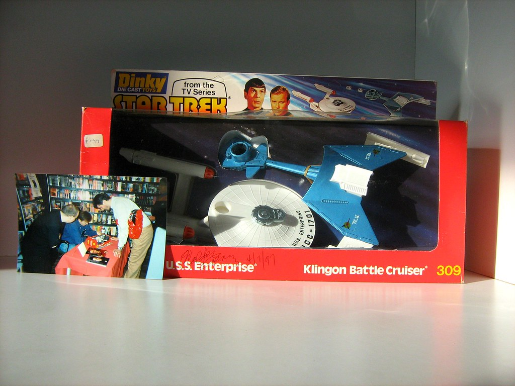 Rare Dinky Toys 'Star Trek: U.S.S. Enterprise and Klingon Battle Cruiser Set Number 309' Signed by Walter Koenig (Ensign Pavel Chekov) and Photograph of Proof of Signing - 1 of 6