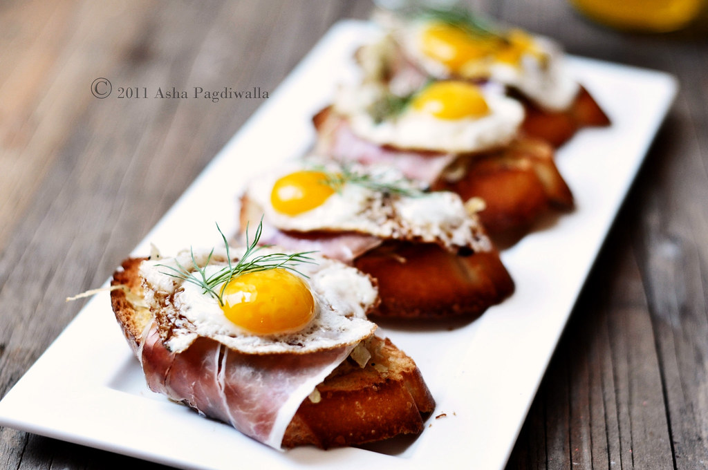 eggs, ham, fennel bruschetta 1