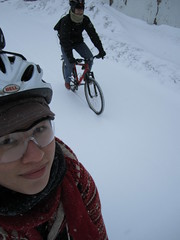 "Feb. 20 storm- 12"" (Low) Tags: snow bike bicycle ross panda helmet snowstorm minneapolis february mn safetyglasses 2011 winterbike studdedtire alabamans"