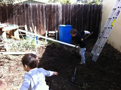 Working in the backyard