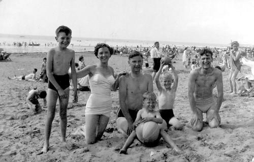 McCreath Family on the beach 1956