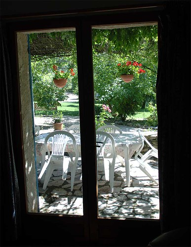 vue terrasse et jardins privatifs du salon Eléphant (ancien restaurant)