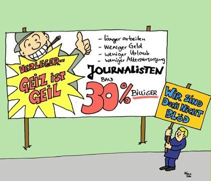 Karikatur: Die Verleger und die Tarifverhandlungen