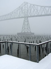 Snowy Afternoon (from my office) (Robert_Brown [bracketed]) Tags: county bridge winter red brown snow building robert oregon canon river is or columbia powershot astoria pilings megler clatsop 2011 sx210 sx210is