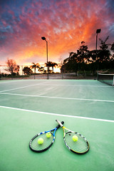 Tennis Anyone? (Extra Medium) Tags: sunset green clouds tennis filters camarillo tenniscourt tennisballs raquet nothdr redhousemilligan