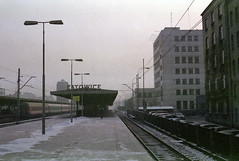 Waiting for a train on a winter morning. (wojszyca) Tags: city morning winter urban cold station zeiss train t fuji poland contax carl bleak epson g2 expired katowice 45mm hoya planar 245 nph400 4990 81a