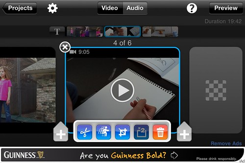 Video editing options in the free version of Splice on an iPhone4