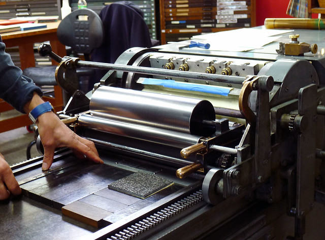 Proofing text on the Vandercook