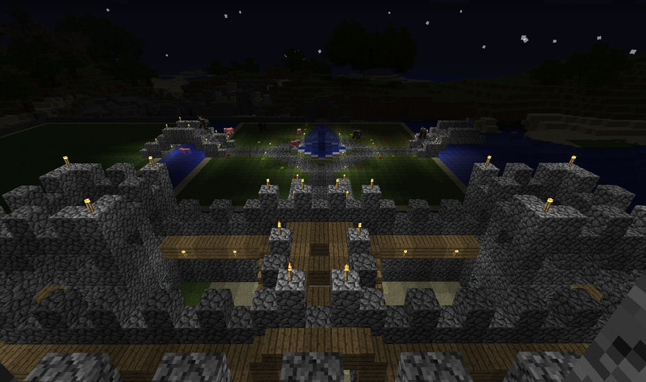 Minecraft - Looking down on the Castle battlements