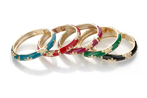 Sequin Floral Enamel Bangles from Charm and Chain