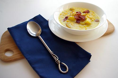 Cheddar Corn Chowder - blue napkin